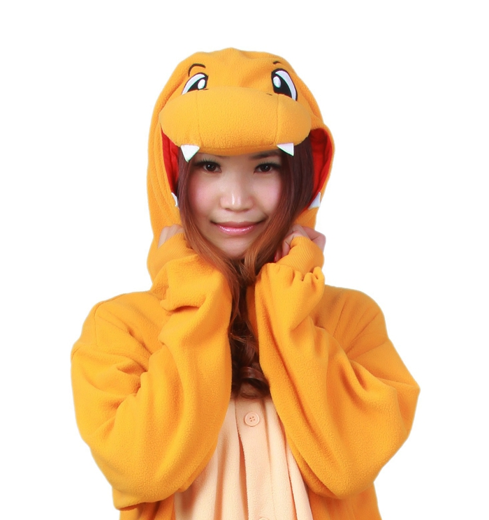 Unisex Fleece Adult Pokemon Charmander Fire Dragon Onesies Animal Cosplay Costume Halloween Xmas Pajama