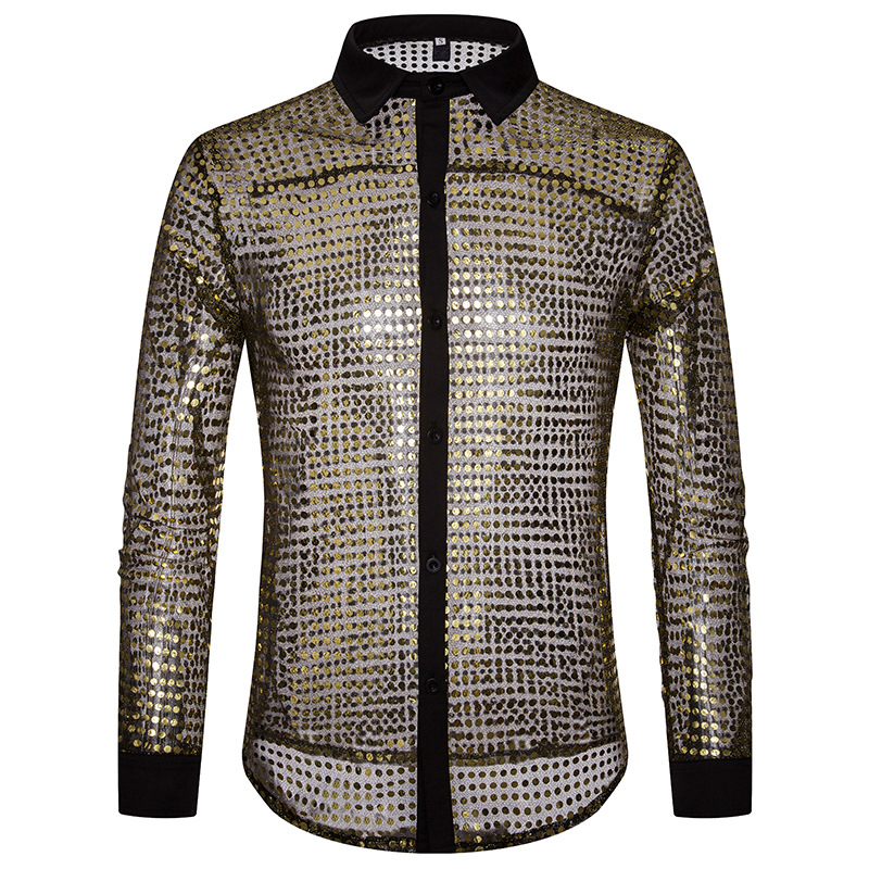 European Fashion Men's Plaid Shirts Autumn And Winter Glitter Big Body Point Scale Night Shop Design Men's Long Sleeve Shirt 6