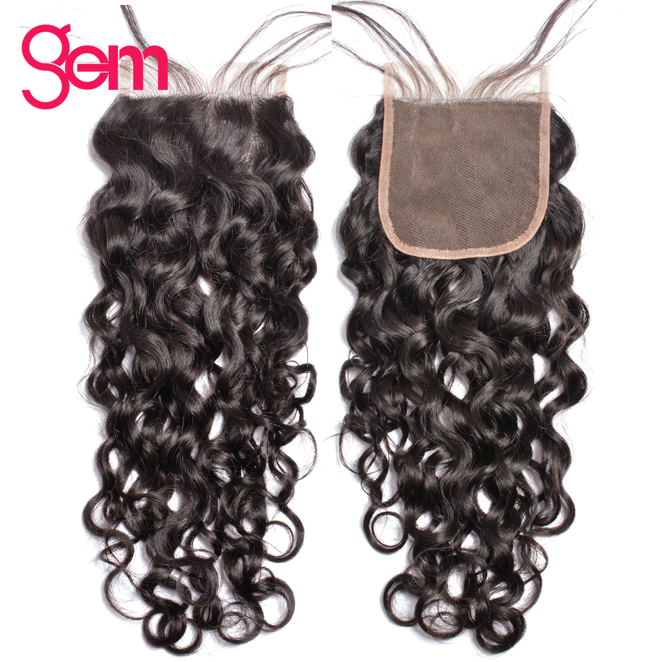 Peruvian Water Wave Lace Closure With Baby Hair 100 Human Hair Middle Free Three Part 4