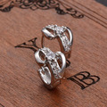 Hot selling Elegant Women Silver Plated Rhinestone Huggie Earrings Bride Wedding Jewelry