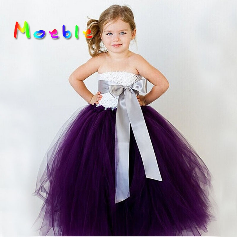 14 Color Ribbon Bow Flower Girl Tutu Dress for Birthday Wedding Party Festival Teenagers Tulle Dresses Princess Vestido Infantil