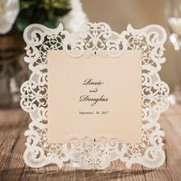 50pcs Pack Wholesale White Laser Cutting Wedding Invitations Card Of Free Personalized Customized Printing Free Shipping