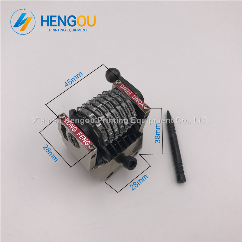 2 pieces free shipping 7 digits gto Hengoucn Numbering machine Clockwise 901234 forward