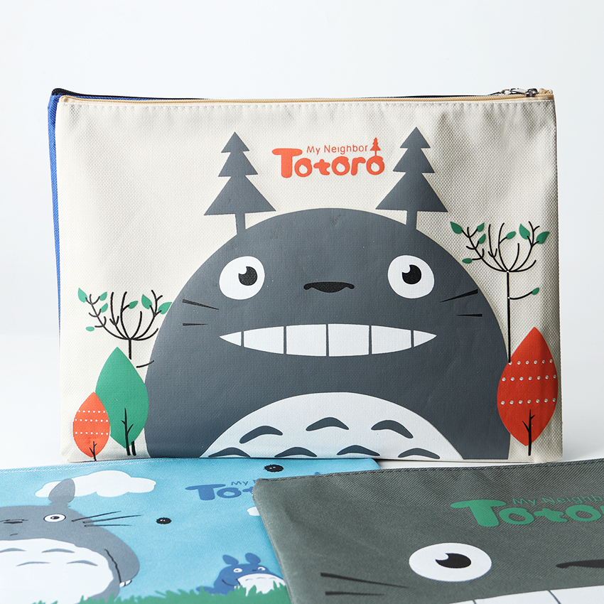 1PC Japan Classic Animation Oxford A4 Big Capacity Cartoon Totoro Cat Series Canvas File Bag File Folder Office Supplies