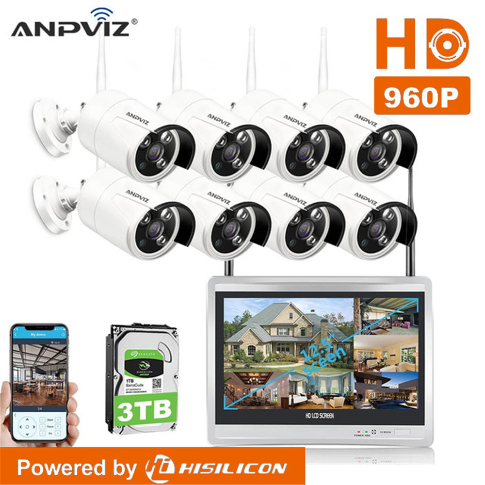 8Ch 1080P WiFi wireless NVR kit with 12 inch LCD Screen 960P WIF Camera Day night security IP Camera System Surveillance NVR Kit