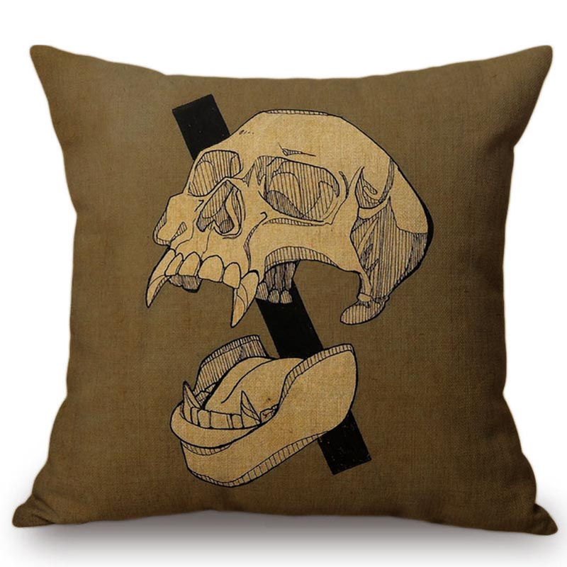 Skull Head Printing Funny emoji Pillow Cushion Cover Pillow Case Decorative Pillowcases for Sofa Car Chair Home Decoration