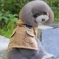 A214 Fashion Winter Pet Dog Clothes England Plaids And Tweeds Warm 2 Legs Coats Dog Snowflake