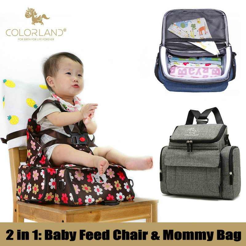 2 in 1 Mommy Bag & Baby Booster Seat, Adjustable Maternity Nappy Bags for Travel Dining Chair, Portable Travel Booster Seat travel baby booster seat harness random straps portable fold washable baby dining chair seat bag cute baby feed chair bag
