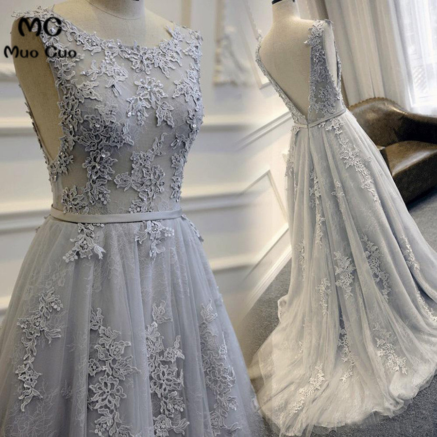 Elegant 2018 Grey Prom dresses dress for graduation Appliques Lace Tulle  Sleeveless Backless Formal Evening Prom Dress 2dbbbe3701ff