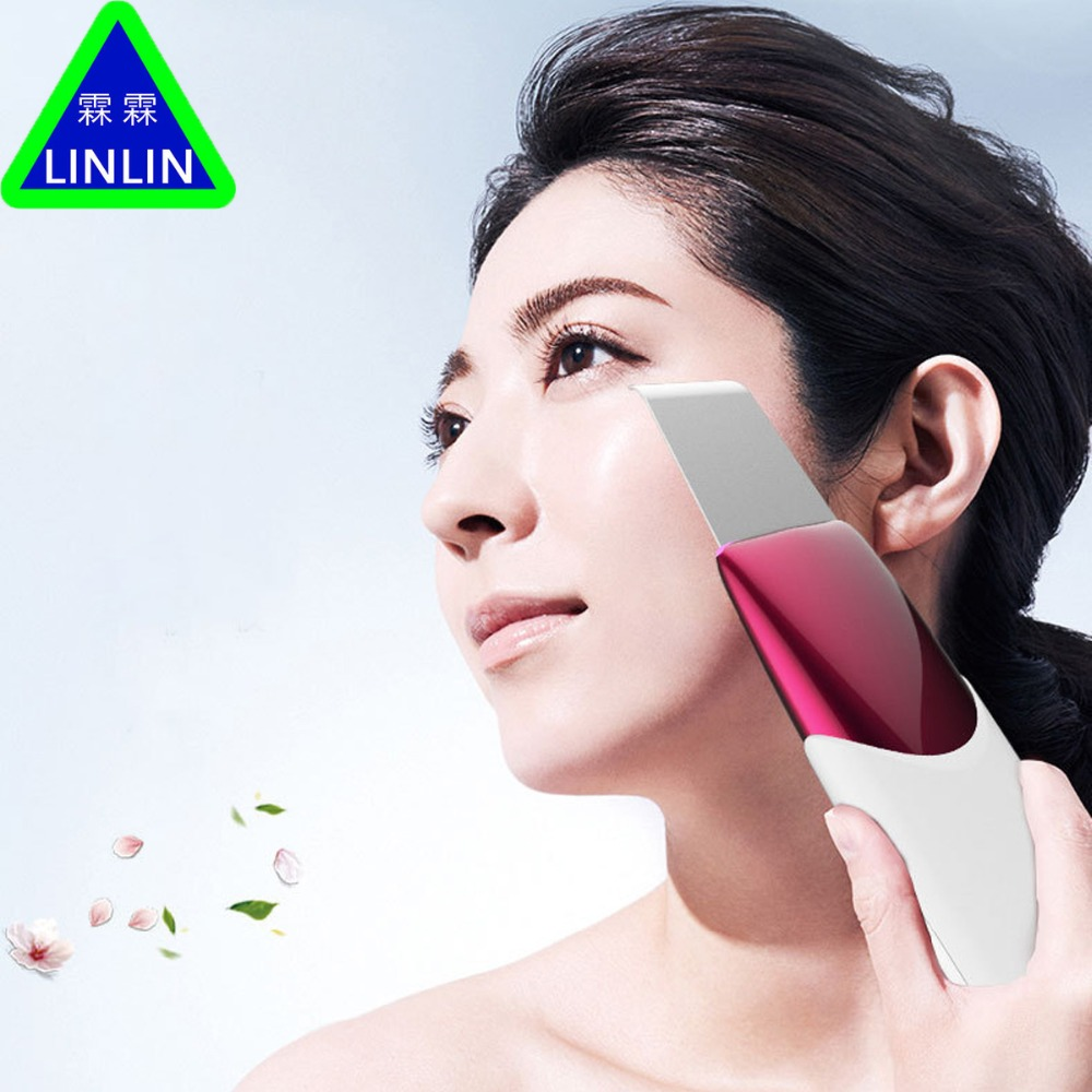 LINLIN Ultrasound Therapy Skin Scrubber Ultrasonic Pore Cleaner Galvanic Ion Spa Beauty Device Facial Massage Face Roller Facial beurha face ultrasonic pore cleaner ultrasound therapy skin scrubber deep cleaning facial lifting therapy for spa face skin care