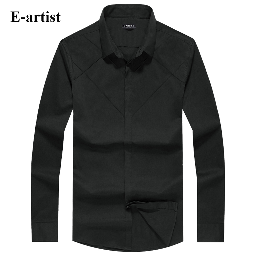E artist Men s Slim Fit Business Casual Cotton Dress Shirts Male Spring Autumn Long Sleeve