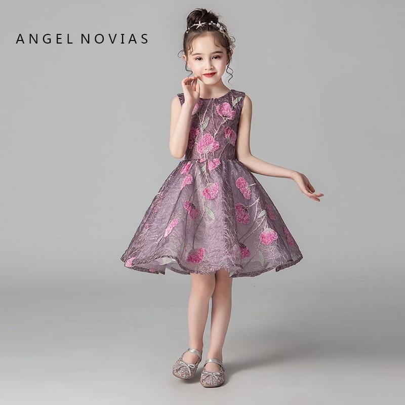 Angel Novias Short Knee Length   Flower     Girls     Dresses   2019 for Weddings Princess Lace Appliques Floor Length Kids Prom   Dress