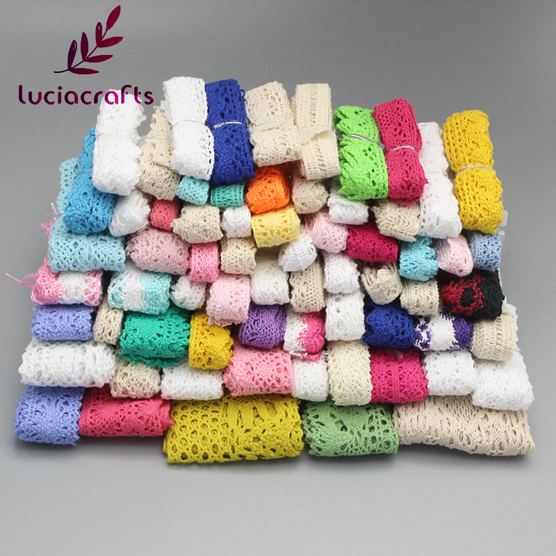 Lucia Crafts 12y 6y lot Cotton Lace Trim Ribbons Fabric DIY Sewing Handmade Patchwork Accessories Random Colors Size 17010003