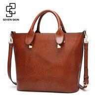 SEVEN SKIN Brand Women Casual Tote Bag Famous Designer Female Solid Leather Shoulder Bags Women Handbag