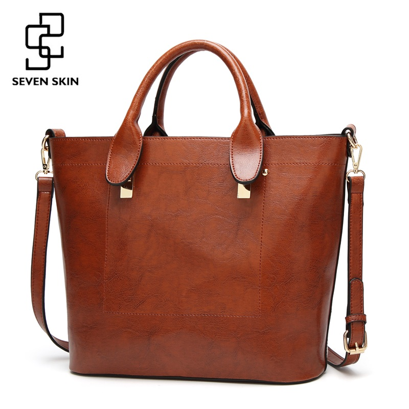 SEVEN SKIN Brand Women Casual Tote Bag Famous Designer Female Solid Leather Shoulder Bags Women Handbag Large Messenger Bag 2017 sgarr new pu leather women messenger bag fashion luxury designer solid black casual tote bags famous brand party shoulder bag