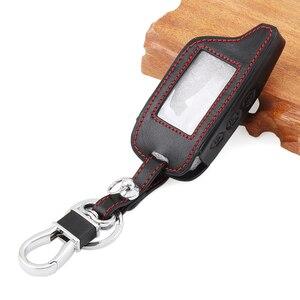 Image 1 - Auto Zubehör, schwarz Leder Auto Styling Schlüssel Abdeckung Fall Für Starline B9 B6 A91 A61 Twage Zwei Weg Auto Alarm System keychain