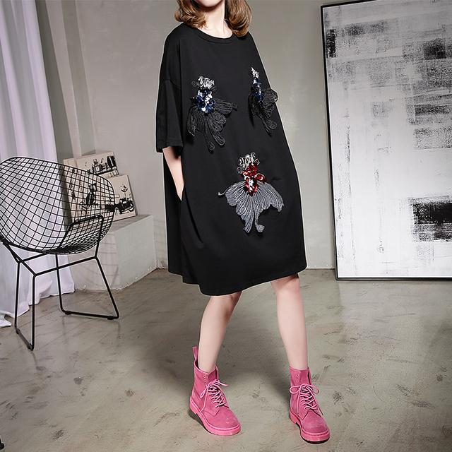 [Soonyour] 2017 primavera novo produto longo o-pescoço cor sólida mulher paetês bordados goldfish mulheres de grande porte camisa b05201