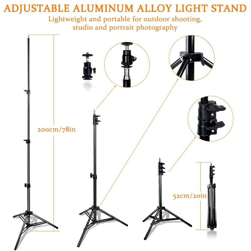 SAMTIAN fotografía iluminación LED Video luz 160 Uds Panel luz regulable con trípode para cámara Video estudio foto fotográfica - 4