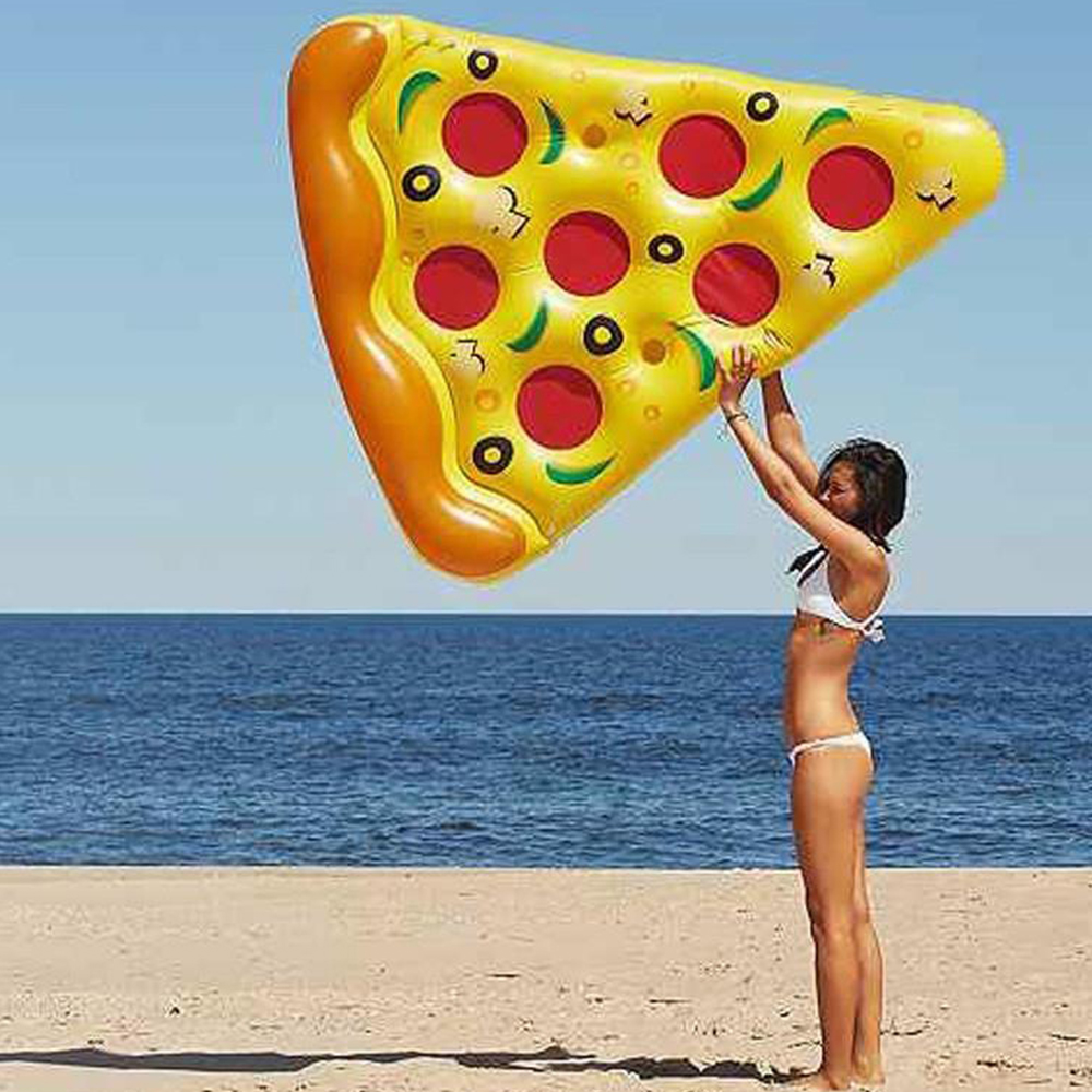180cm Inflatable Swimming Ring Pizza Floating Bed Swim Pool Mat Raft Air Mattresses Swimming Pool Toys Beach Summer Water Toys