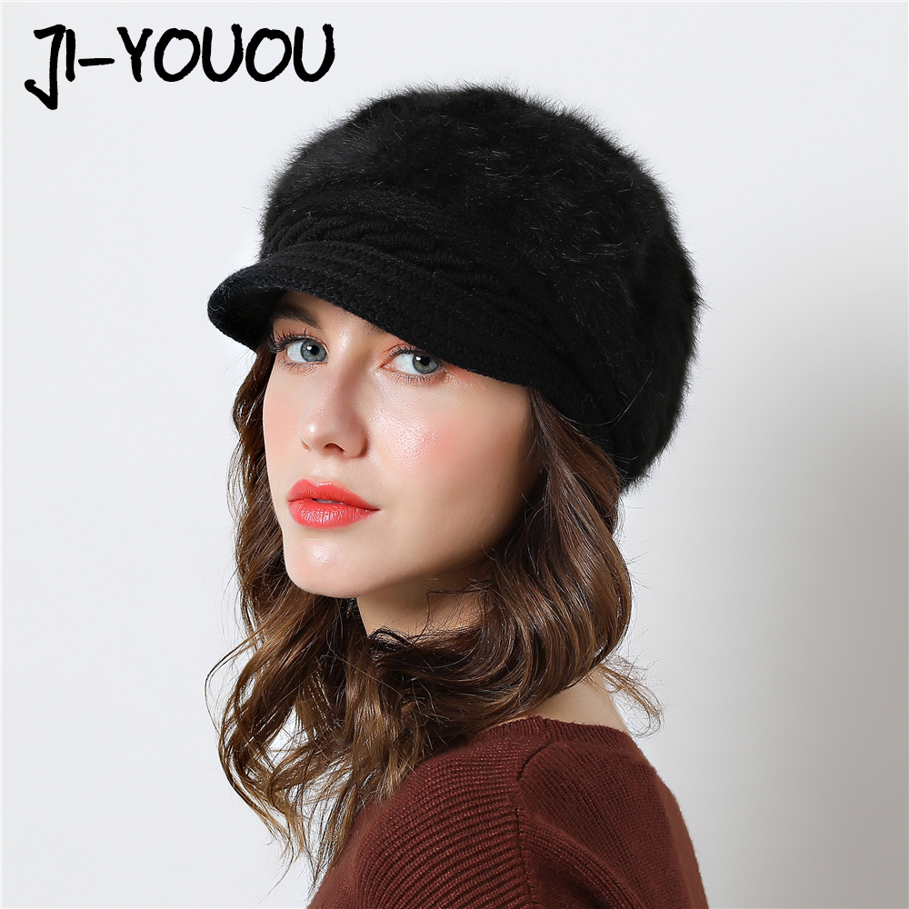 2018 New Elegant Women's Hat Knitted Winter Hat For The Girl Cap Bow Autumn Ladies Female Fashion Beret Rabbit Hair