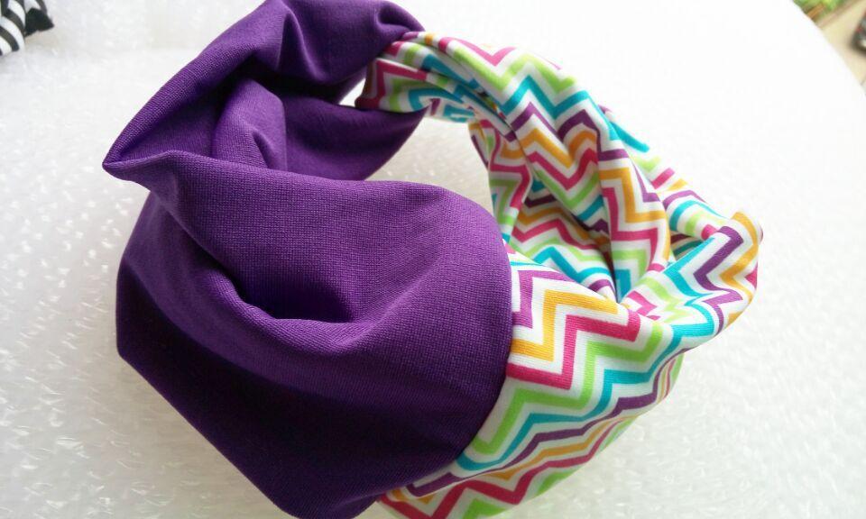 И розничная Модная хлопковая ткань с цветочным узором Тюрбан повязка на голову аксессуары для волос Популярные для женщин и девочек 12 см - Цвет: purple
