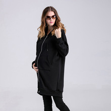 Novelty Graffiti Number 15 Fashion Maternity Coat Long-sleeved Hooded Cartoon Shirt Large Size Spring Plus Velvet Warm