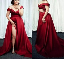 Dark Red Plus Size Evening Dress 2019 Off The Shoulder Split Side Long Simple Prom Dresses Custom Made Pregnant
