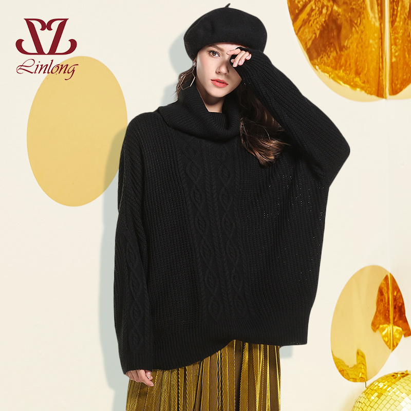 women white black korean Knitted Sweater Pullovers 2018 Autumn Winter Casual Turtleneck long Sleeve Loose christmas sweater B217