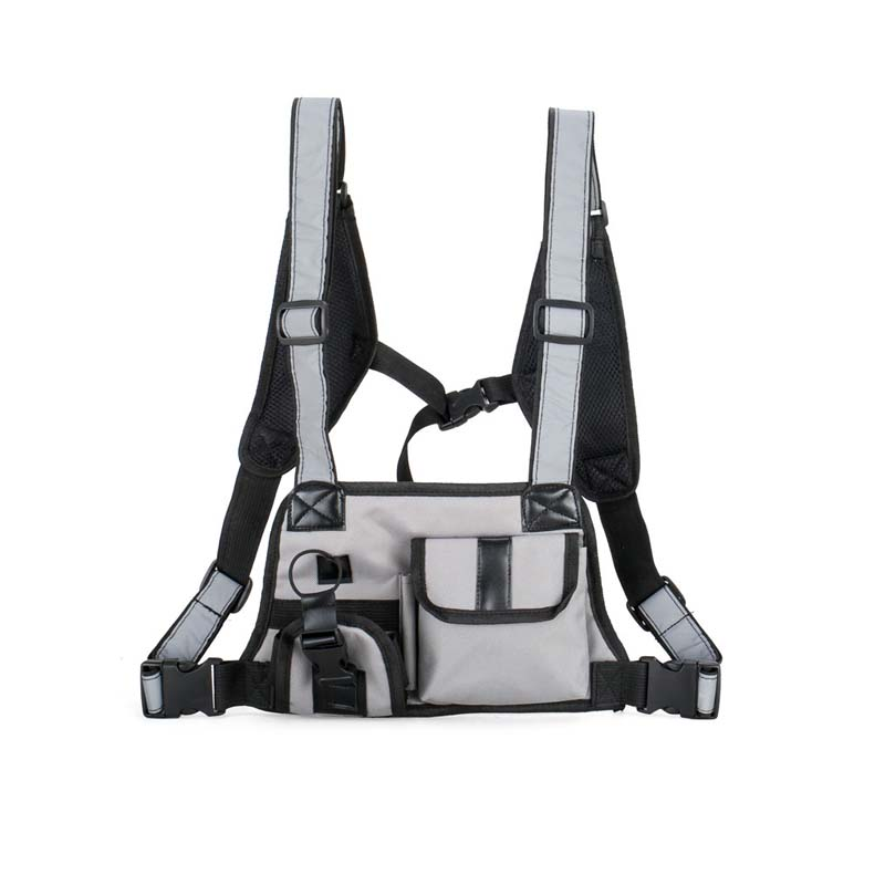 Hip Hop Tactical Vest Multifunction Chest Bag Men Women Waist Bag Reflective Shoulder Strap Vest Nylon Street Style Chest Rig
