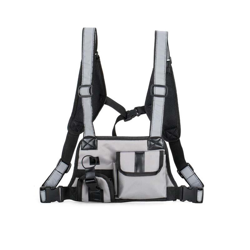Hip Hop Tactical Vest Multifunction Chest Bag Men Women Waist Bag Reflective Shoulder Strap Vest Nylon Street Style Chest Rig