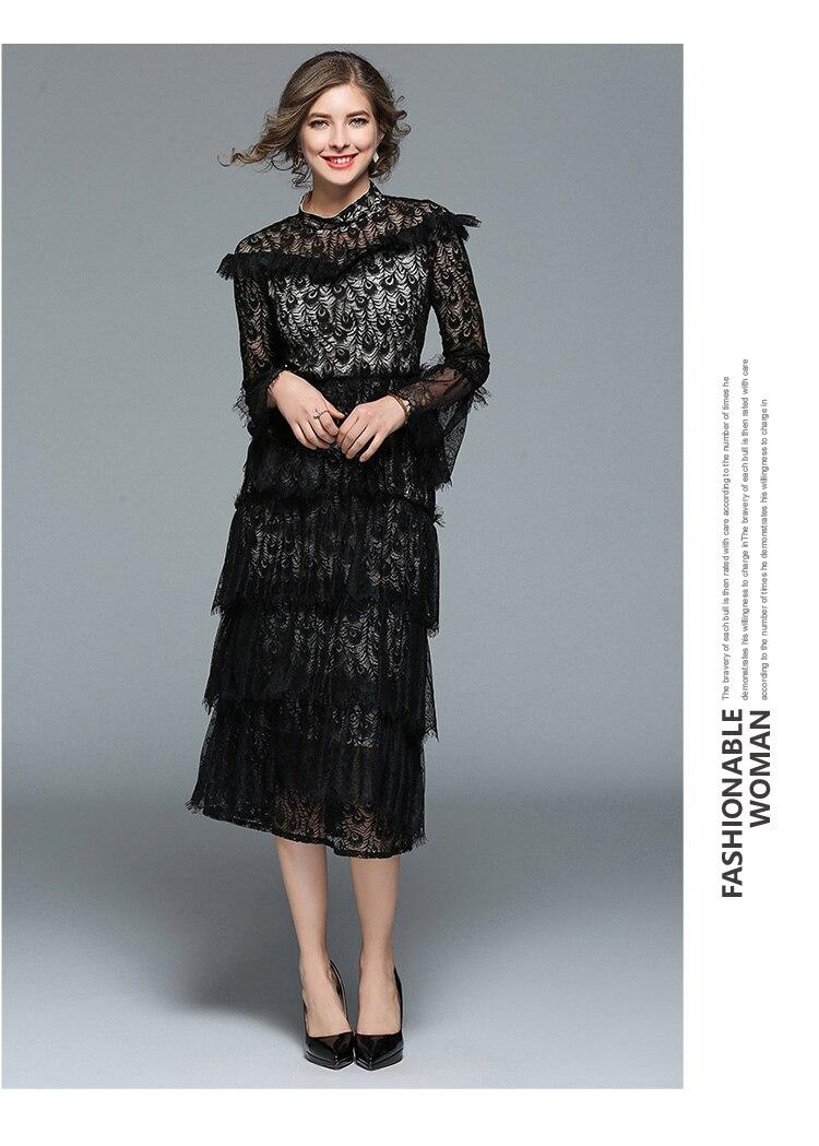 Spring Retro Catwalk Long Black Lace Dress Vetement Femme 2018 ...
