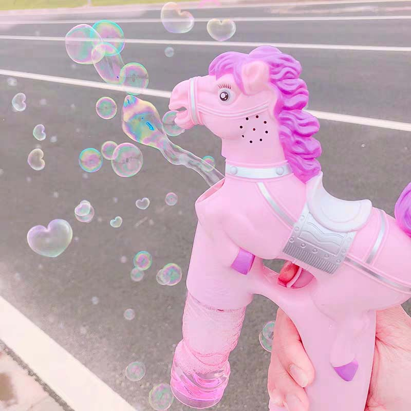 Electric Bubble Gun Toys For Children Summer Outdoor Soap Bubbles Machine Cartoon Pony Automatic Soap Fluid Blower With Music