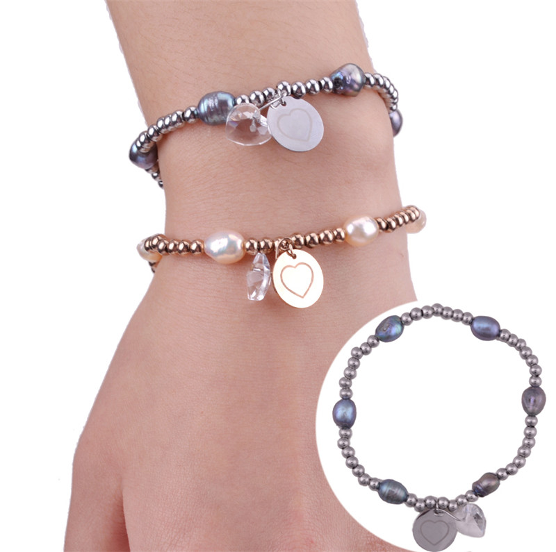 Fashion Rose Gold/Sliver Plated 6pcs Natrul White/Black Pearl Bracelets With Heart Crystal For Women Wristband Gifts Jewellery
