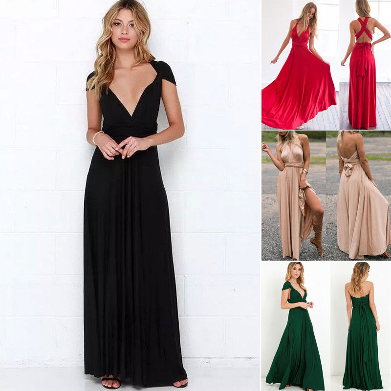 2018 Summer New Style Fashion Women's Dress Convertible Multi Way Wrap Bridesmaid Formal Long Sundress