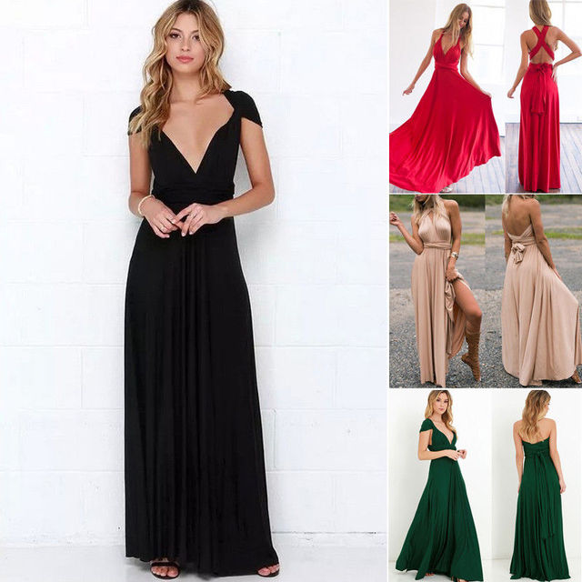 a925b406822 2018 Summer New Style Fashion Women s Dress Convertible Multi Way Wrap Bridesmaid  Formal Long Sundress-in Dresses from Women s Clothing on Aliexpress.com ...