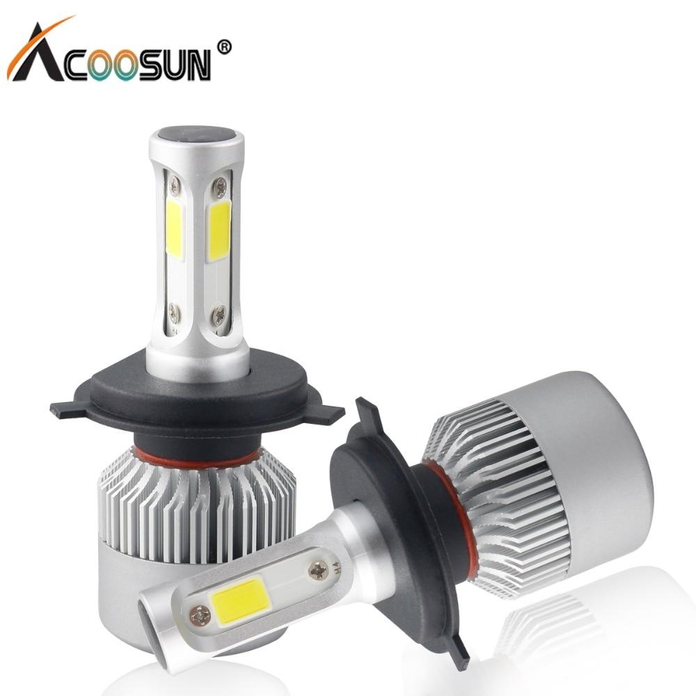 Car Light S2 H4 H7 H1 COB LED Headlight Bulbs H11 H13 12V 9005 9006 H3 9004 9007 9012 72W 8000LM Car LED lamp Fog Light 6500K