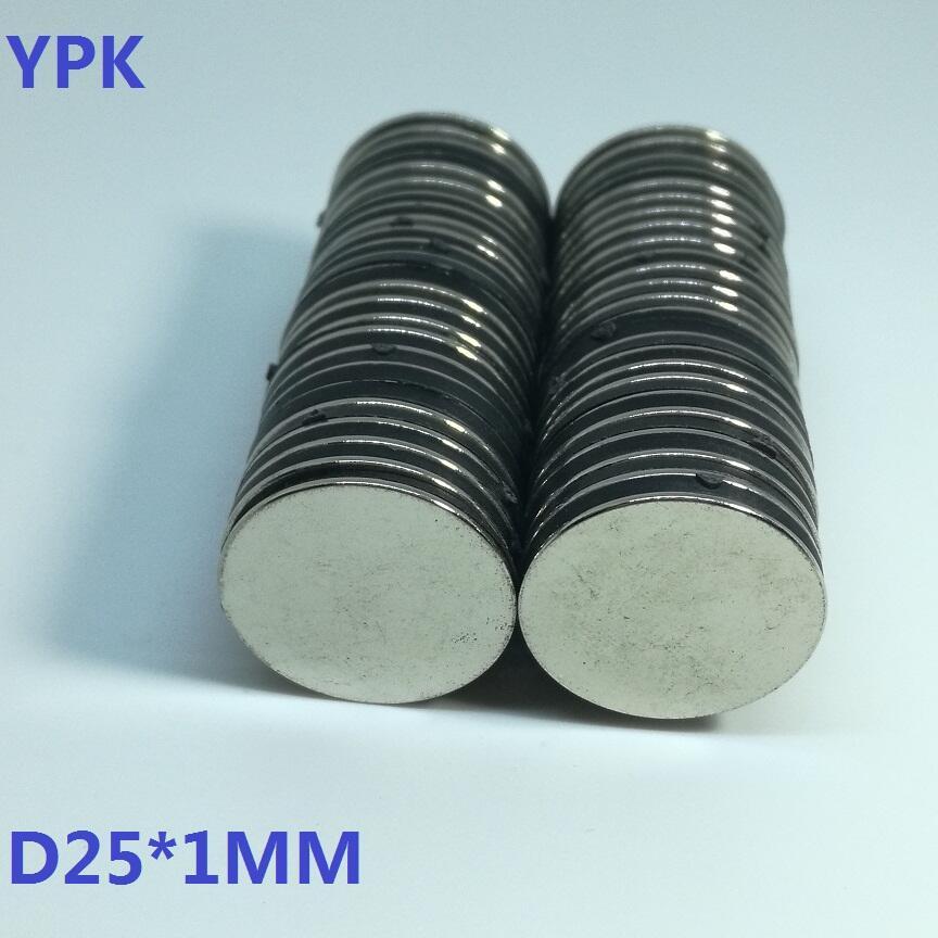50PCS LOT neodymium magnet 25 1 mm disc D25 1 mm N35 magnet NdFeB magnets Dia