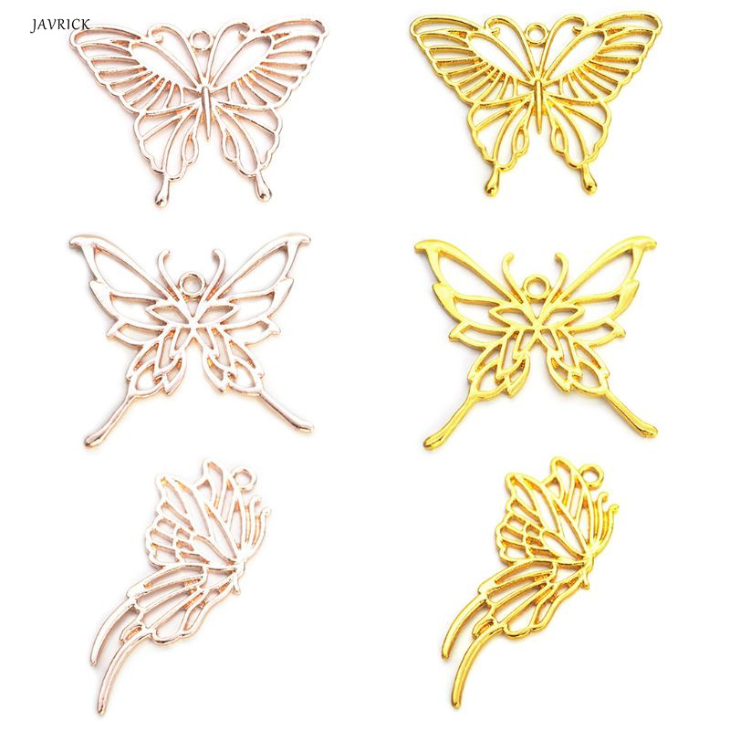 6 Pcs Metal Butterfly Frame Exquisite Hollow UV Glue Border DIY Jewelry Alloy Epoxy Resin Crafts Handmade Gifts Necklace Pendant