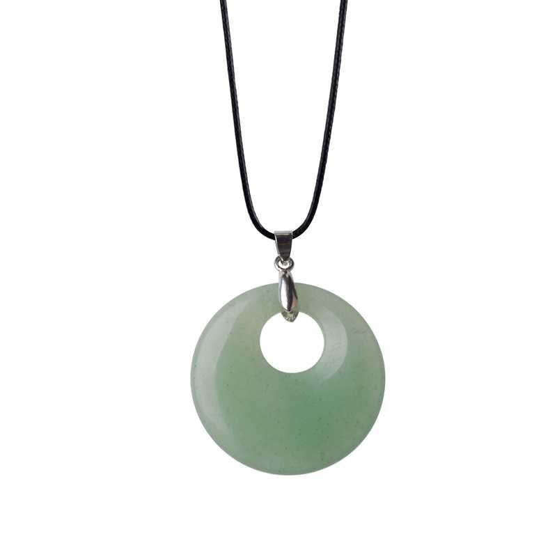 สีเขียว Dongling จี้ใหม่แฟชั่นรอบโดนัท Peace จี้หินธรรมชาติจี้ชายหญิงของขวัญ