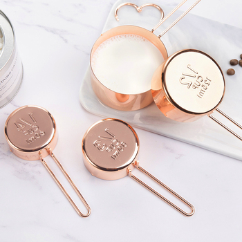 4Pcs Stainless steel Measuring Cups Set Luxury Copper Plated Kitchen Measuring Tools For Baking Coffee Tea Cuchara dosificadora 1