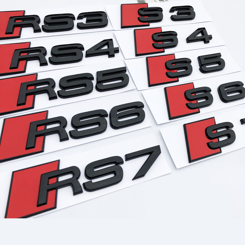 Glossy Black S3 S4 S5 S6 S7 RS3 RS4 RS5 RS6 RS7 RSQ3 Letter Number Emblem Car Styling Badge Sticker for Audi A4L A5 A6L Q3 Q5 Q7