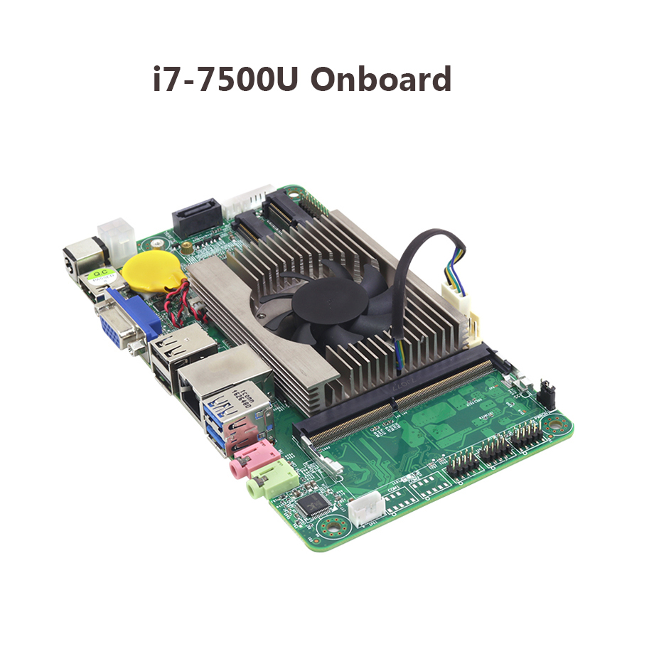 Carte mère de bureau ITX Intel Core i7 7500U 2.70 GHz à bord du processeur ITX Mini DDR3 mSATA SATA Mini carte mère PCI-e original