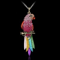 Long Jewelry Sweater Necklace New Bird pendant Exquisite Colourful Pendants Fashion Necklaces For Woman
