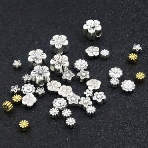 7 estilo borboleta margarida vintage esculpida flor solta espaçador grânulos para fazer jóias corrente pulseira frisado diy accessorie