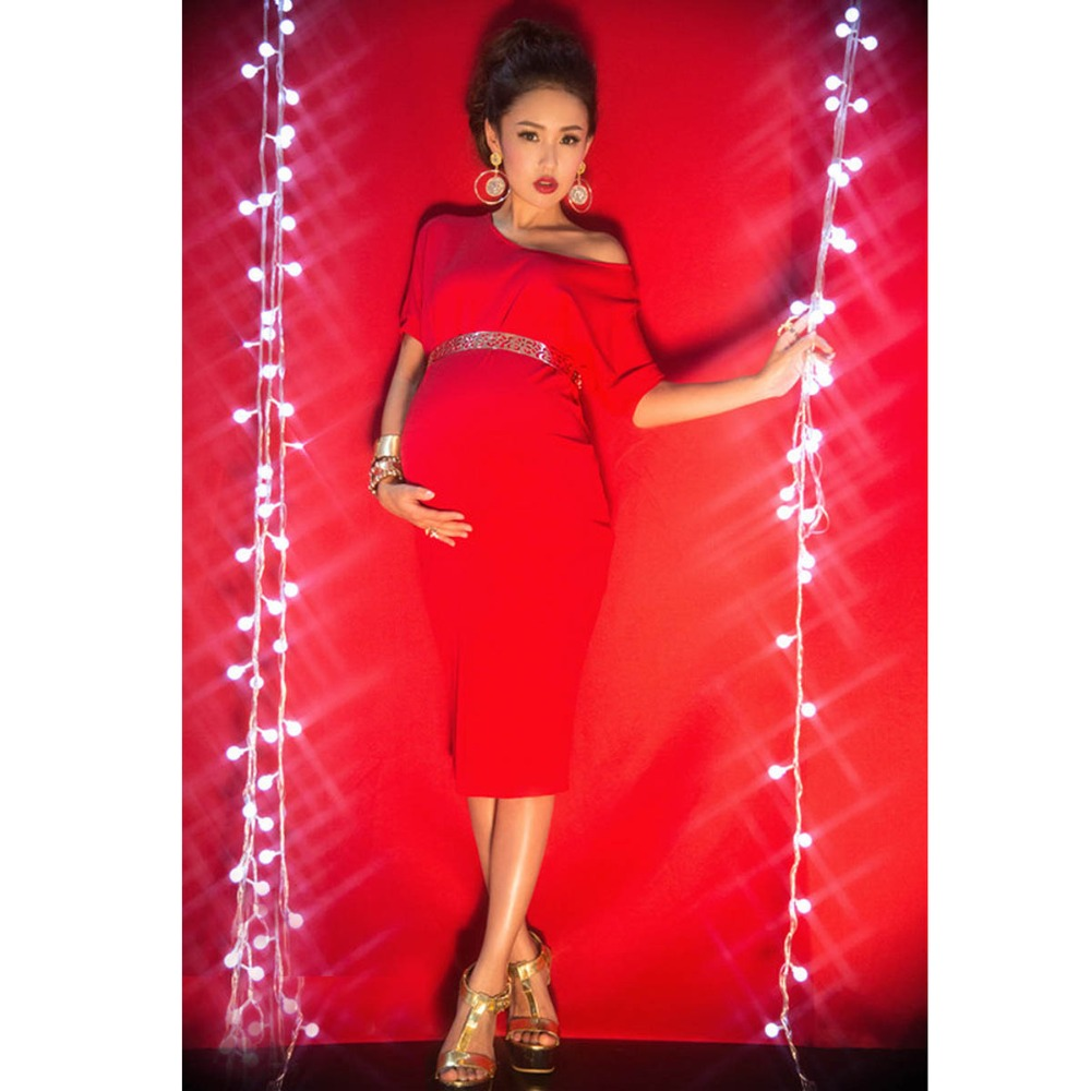 Red Maternity Dresses Maternity Photography Props Dress Elegant  Pregnancy Pregnant Photography Props with Sashes