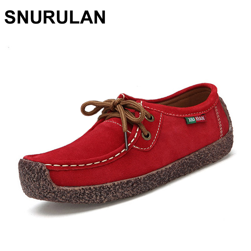 SNURULAN New Autumn Winter Shoes Woman Cow Suede Leather Flats Women Shoes Lace-Up Women's Loafers Moccasins Female Footwear uexia winter cow suede tassels loafers fur inside warm gommini women shoes soft flats female shoes womens footwear round toe