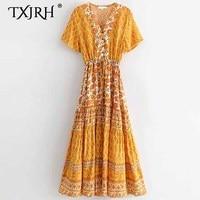TXJRH Bohemia Ethnic Orange Yellow Floral Print Deep V Neck Waist Tied Bow Short Sleeve Holiday Floor Lenght Swing A Line Dress