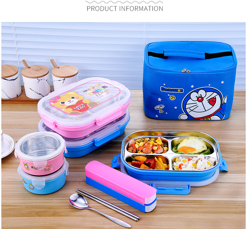 Hello Kitty Deraemon Cartoon Food Container Thermos Children School Picnic Portable Bento Lunch Boxes Rectangle Plastic Stainless Steel 22