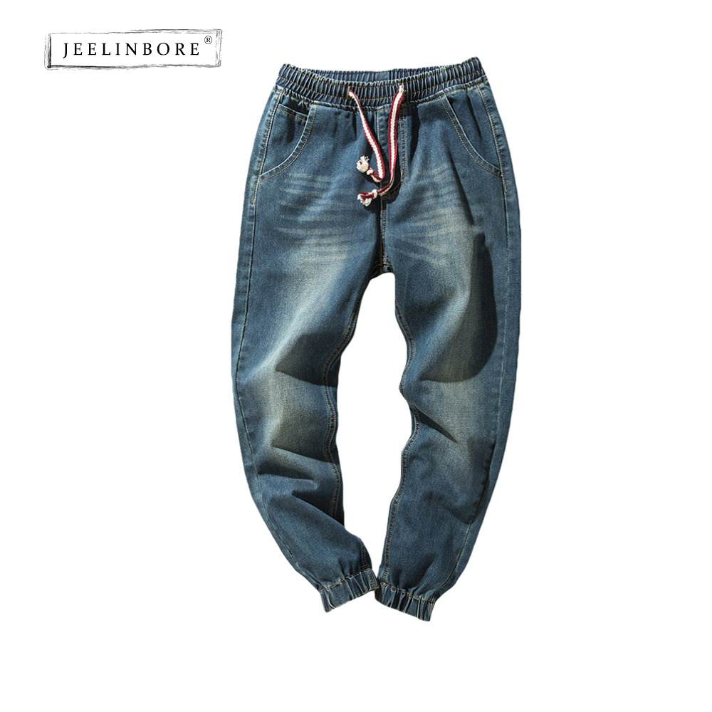 JEELINBORE 2018 Mens Denim Jeans Men Drawstring Slim Fit Male Regular Pant Mens Stretch Elastic Casual Straight