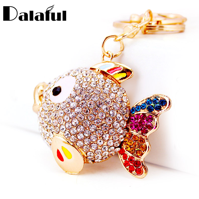 Dalaful Colorful Crystal Tail Fish Goldfish Keychains HandBag Llaveros Keyrings Key Chains Purse Bag Pendant For Car Women K252